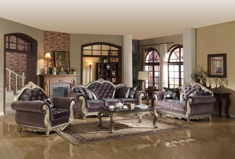 Meridian 653 Leather Living Room Sofa Set 2pc. Antique Silver Traditional Style