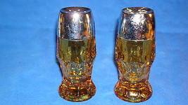 """VTG Amber/Topaz Salt & Pepper Glass Shakers Anchor Hocking """"Georgian"""" Pattern - $9.85"""