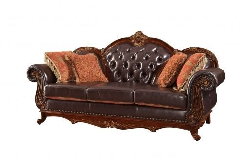 Meridian 654 Bonded Leather Living Room Sofa Tufted Brown Traditional Style