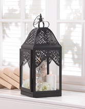 "Large Black Crown Candle Lantern 16 1/2"" Outdoor Wedding Party Supplies ... - $33.00"