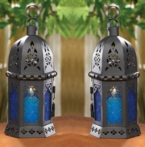 "Ocean Blue Serenity Candle Lantern 10 1/4""tall (Set of 2) Wedding Suppli... - $24.00"