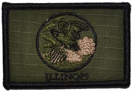 Illinois State Flag - 3x2 Hat Patch (Olive Drab OD) - $4.89