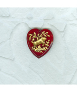 Vintage Red Glass Heart Zodiac Pendant Bead Charm  Taurus the Bull - $7.99