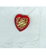 Vintage Red Glass Heart Zodiac Pendant Bead Charm Scorpio the Scorpion - $7.99