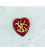 Vintage Red Glass Heart Zodiac Pendant Bead Charm Aquarius the Water Car... - $7.99