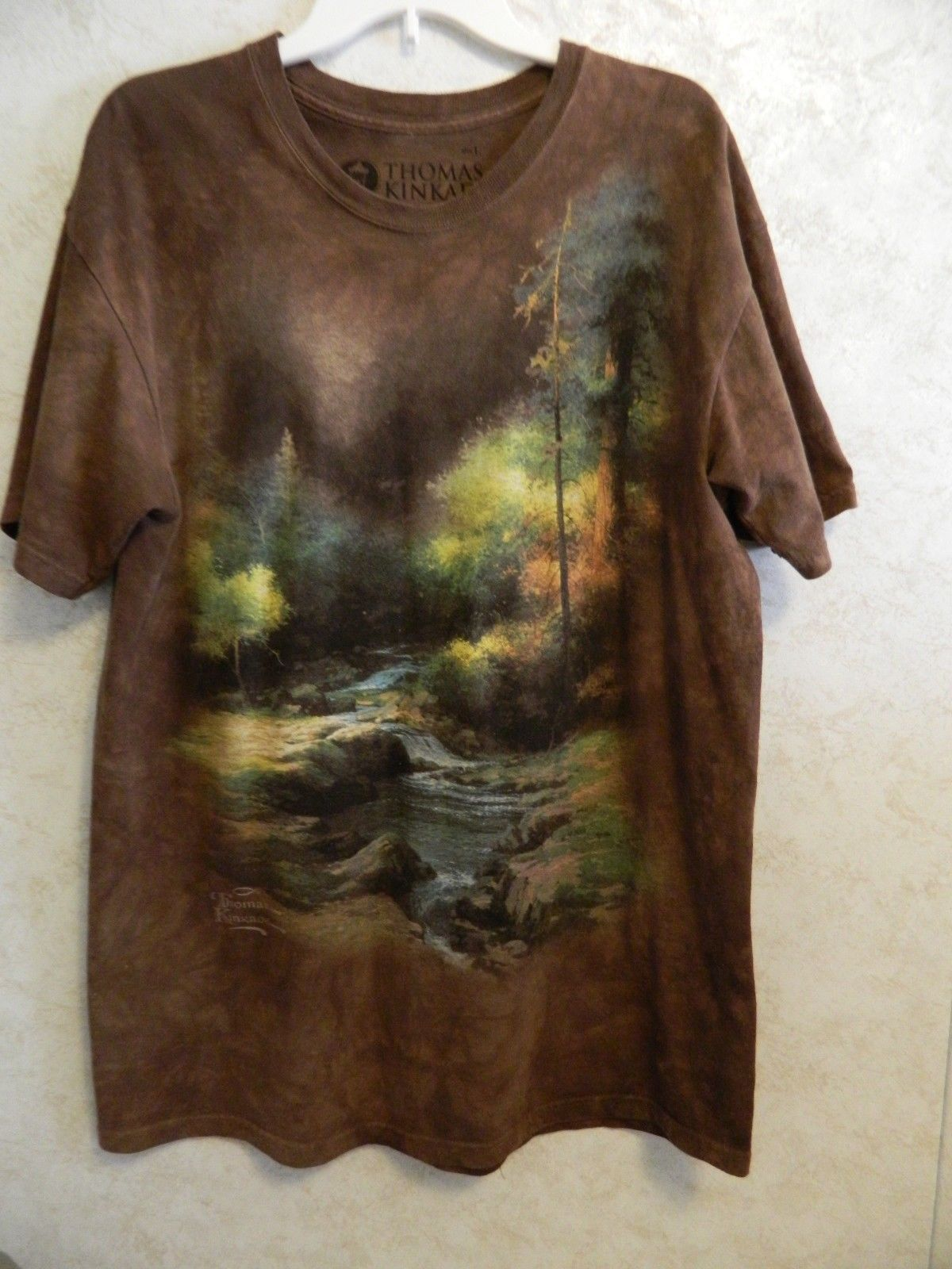 Primary image for Thomas Kincaid Painter of Light The Mountain Men's T Shirt Size L Brown Tie Dye