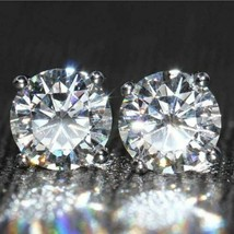 1 CT Natural Certified Genuine Moissanite Earrings 925 Silver White Gold Finish - £92.24 GBP