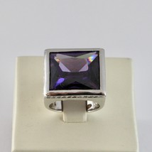 925 Silver Ring Rhodium with with Crystal & Purple Zircon Transparent image 2