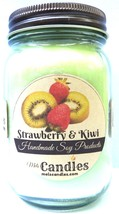 Strawberry Kiwi 16 ounce Country Jar Handmade Soy Candle - $17.69