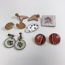 Copper Jewelry Lot Enameled MCM Mid Century Mod Geo Atomic earrings broo... - $39.59