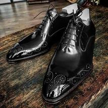 Handmade Men brogue black Leather Formal Shoes, Men Designer Oxford Dress shoes - $164.99
