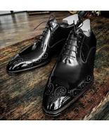 Handmade Men brogue black Leather Formal Shoes, Men Designer Oxford Dres... - $164.99