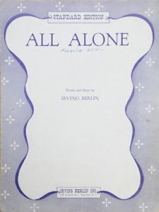 Primary image for All Alone - Standard Edition -1927 Sheet Music
