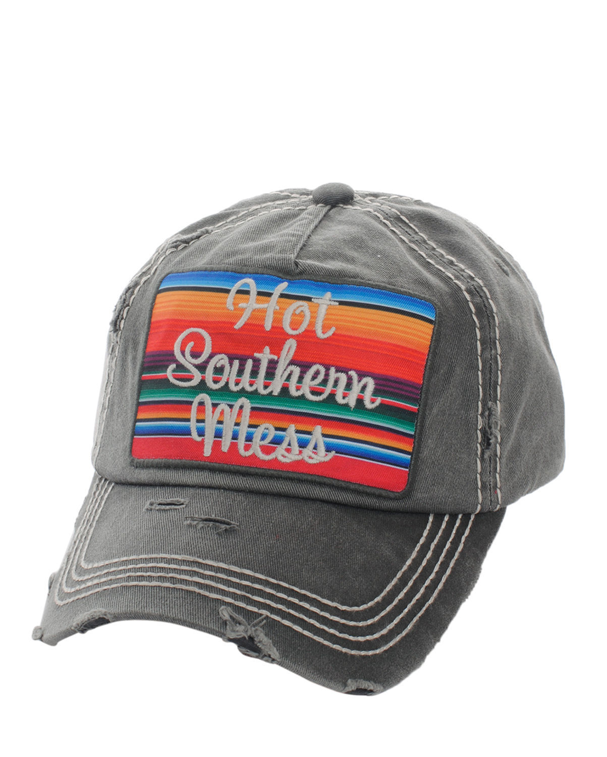 Distressed Country Vintage Style Hot Southern Mess Baseball Cap Hat Black
