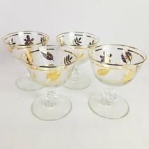 Vintage Libbey Champagne Glasses Golden Foliage Sherbet Wine Custard Set Of 4 - $17.95