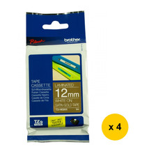 Brother Laminated 12mm Tape Cassette (4pcs), White on Satin Gold, TZe-MQ835 - $79.99