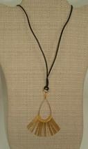 Vtg Mod Geometric Metal Tribal Paddle dangler Gold tone corded boho Neck... - $10.89