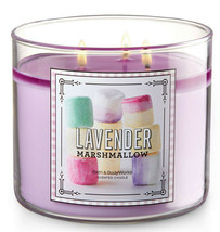 Bath & Body Works Lavender Marshmallow Three Wick 14.5 Ounces Scented Ca... - $22.49