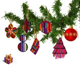 Set of 5 Tribal Peruvian Christmas Tree Ornaments, Peruvian fabric Accen... - $24.85
