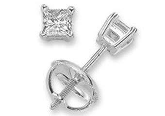 Primary image for 14k White Gold Princess Cut Diamond Stud Earrings 1 Carat