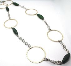 SILVER 925 NECKLACE, GIADA GREEN, CIRCLES YELLOW, 100 CM, ROLO' TEXTURED image 4