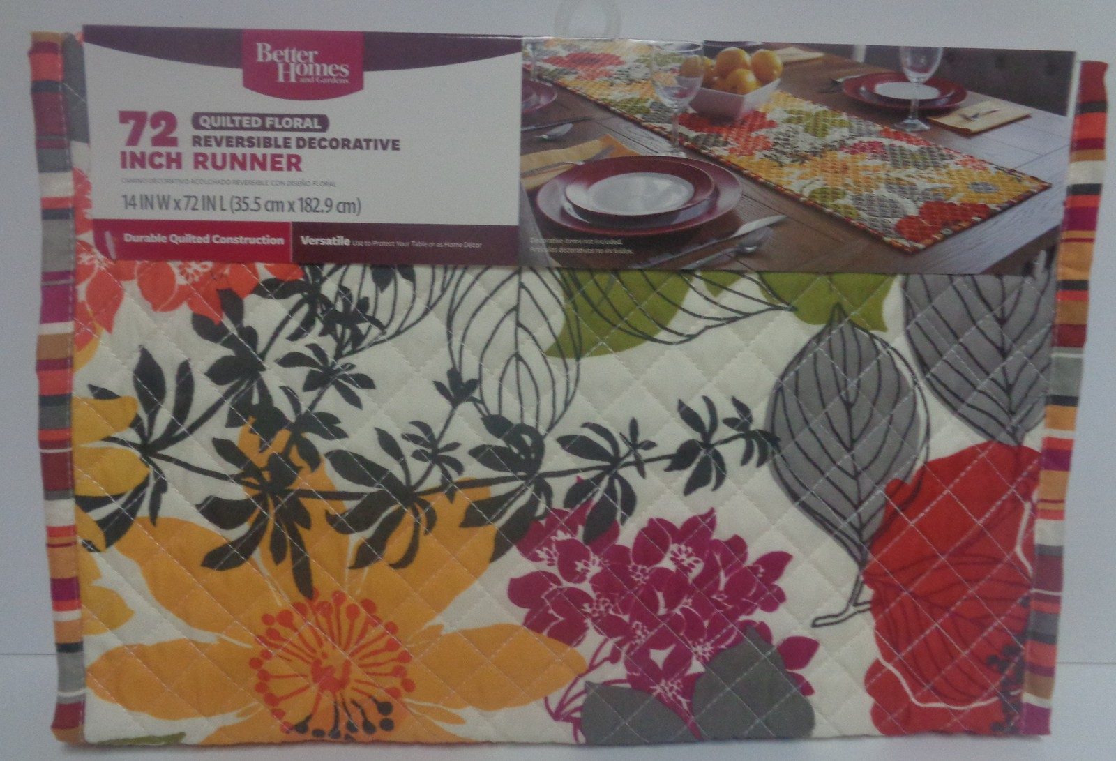 "Better Homes Reversible Quilted Floral Table Runner 72"" x 14"" NWT"