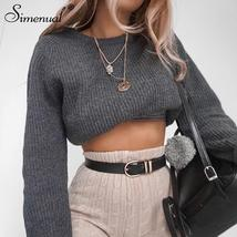 Simenual Casual crop sweater 2018 autumn winter slim grey long sleeve ju... - $38.89