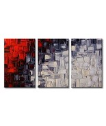 Extra Large Handmade Red and White Abstract Canvas Wall Art Modern Conte... - $181.12