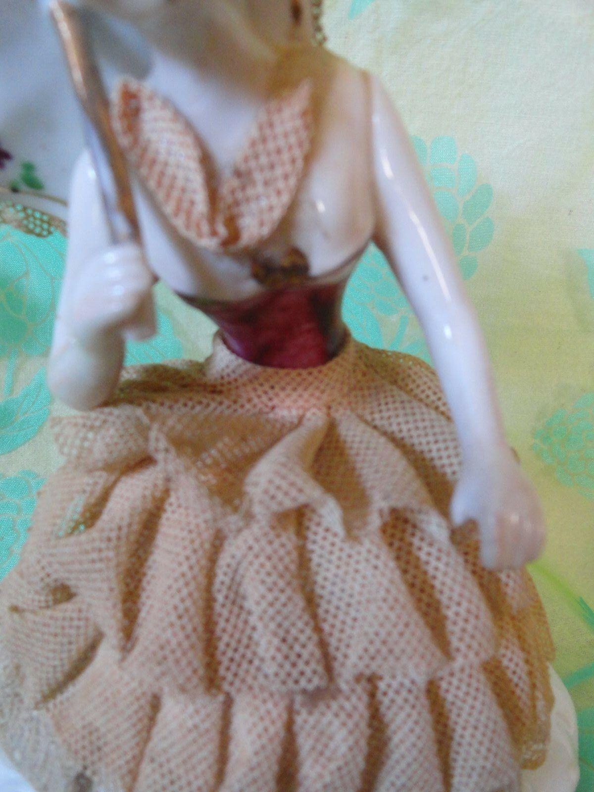 Victorian Lady Parasol umbrella gold trim 6 inches tall stiff lace  (#5)