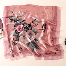 Women Silk Scarf Long 180*90 cm Pink Big Florals Digital Printed Foulard... - $18.31