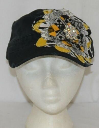 Frayed Flower Brand Decorative Womans Hat Black Multi color Flower