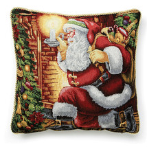 Santa Tapestry 18 x 18 Pillow Cover, Gold Braided Trim, Hidden Zipper, N... - $24.04