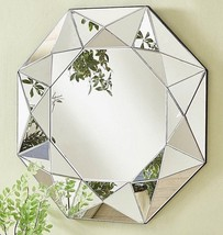 """Mid Century Modern Faceted Wall Mirror Contemporary Hollywood Regency Round 36"""" - $260.37"""