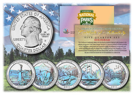 2011 America The Beautiful HOLOGRAM Quarters U.S. Parks 5-Coin Set w/Cap... - $12.82