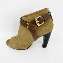 Vince Camuto Womens Brown Suede Leather Peep Toe Bootie, Size 6, Zip Back - $28.66