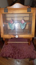 VINTAGE WOOD STAINED GLASS LOOK 2 SHELF CABINET TOWEL RACK TULIP DESIGN - $64.30
