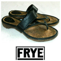 Frye Chelsea Flip Flops Thongs Sandals Sz 10 Black Leather Wood Strappy   r - $31.18