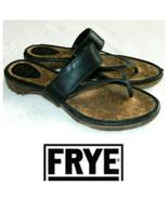 Frye Chelsea Flip Flops Thongs Sandals Sz 10 Black Leather Wood Strappy   r - $31.18