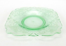 Heisey Green Depression Glass Saucer Moon Gleam, Old Colony Pattern Squa... - $12.69