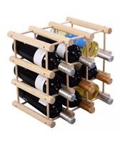 New 12 Bottle Wood Wine Rack Bottle Holder Stor... - $23.49