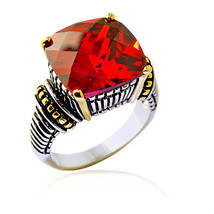 15.46CT Antique Cushion Cut Garnet Uniquely Designed Ring - $157.41