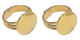 12 GOLD PLATED Adjustable RING BLANKS/Settings ... - $9.40