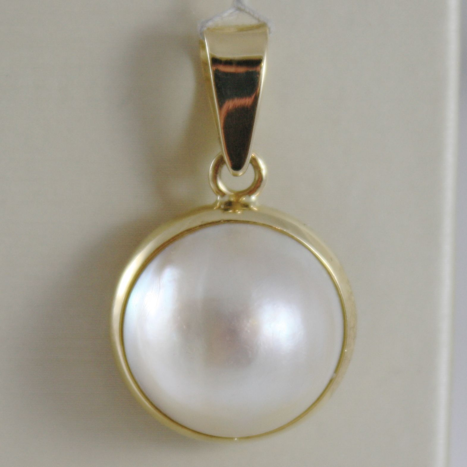SOLID 18K YELLOW GOLD PENDANT CHARM BIG ROUND CABOCHON WHITE PEARL MADE IN ITALY