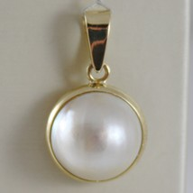 SOLID 18K YELLOW GOLD PENDANT CHARM BIG ROUND CABOCHON WHITE PEARL MADE IN ITALY image 1