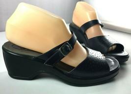 Dansko Sandals Womens Black Leather Size 39 Slip On Shoes 8.5 - 9 - $49.45