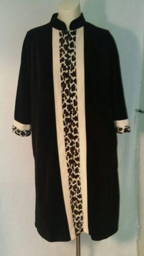 Vtg Vanity Fair Black Leopard Print Dacron Poly Velour Zip