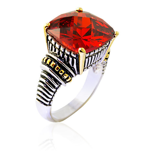 15.46CT Antique Cushion Cut Garnet Uniquely Designed Ring