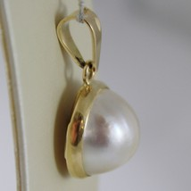 SOLID 18K YELLOW GOLD PENDANT CHARM BIG ROUND CABOCHON WHITE PEARL MADE IN ITALY image 2