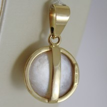 SOLID 18K YELLOW GOLD PENDANT CHARM BIG ROUND CABOCHON WHITE PEARL MADE IN ITALY image 3