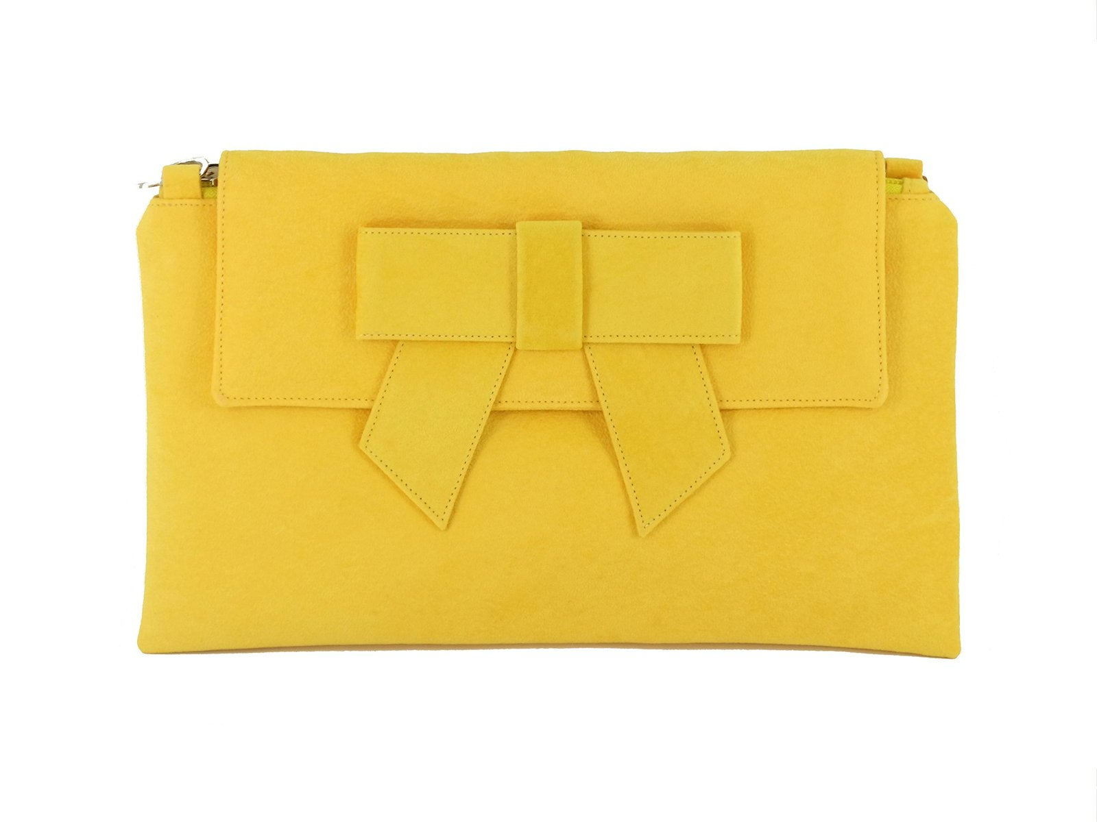 LONI Womens Clutch Bag Shoulder Bag Wristlet in Suede Faux Leather in Yellow